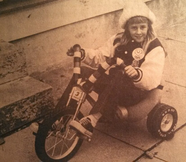 Amy Kratz on The Kratz Mobile taken from Delaware Coast Press November 29,1973